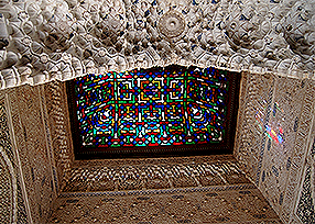 Granada---ALHAMBRA---Stained Glass Ceiling 286