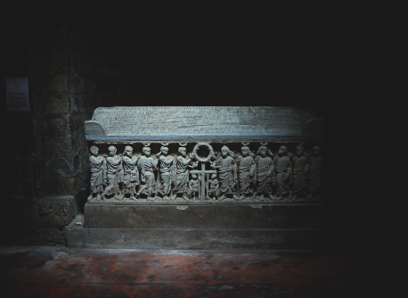Sarcophagus in the light.