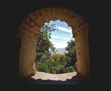 granada - city through the tower window